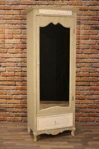 Schrank GCUL khakigrau kunstvoll Antik mit Shabby-Finish Spiegel Spiegelschrank