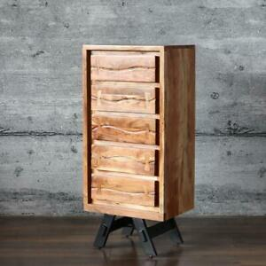 Highboard LABIN, massiv Mangoholz Schubladenkommode Industrial-Stil Sideboard