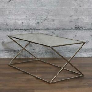 Couchtisch LOC Edelstahl & Glas Beistelltisch Glastisch Industrial-Stil modern