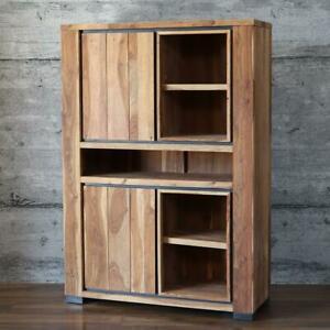 Schrank POREC, massiv edles Sheesham Holz Highboard Design Dielenschrank Regal