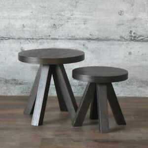 Couchtisch OTS 2er-Set massiv Mahagoni Holz Vintage Beistelltisch rund schwarz