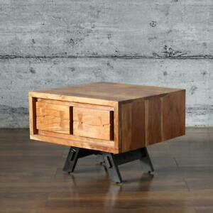 Couchtisch LABIN, massiv Mangoholz 60x60 Nachttisch Industrial-Design Wohnzimmer