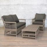 Sitzgruppe TNOM 3-teilig Bank Sessel Tisch Polyrattan Flecht-Design Garnitur