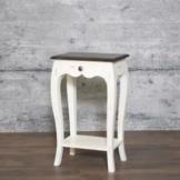 Nachttisch PLOCE massiv Mangoholz 75x45 Nachtkommode Beistelltisch weiß Shabby