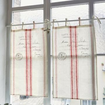 LOBERON Scheibengardine Rosi, creme/rot (45 x 70cm)