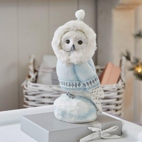 LOBERON Deko-Eule Hedwig, blau/weiß (8.8 x 11 x 22.5cm)