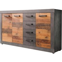 Newroom Kommode »Jamell«, Kommode Anthrazit Old Wood Vintage Industrial Highboard Anrichte Wohnzimmer