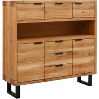 WHITEOAK GROUP Highboard »Thilo«, aus massivem Eichenholz mit lackierten Metallbeinen