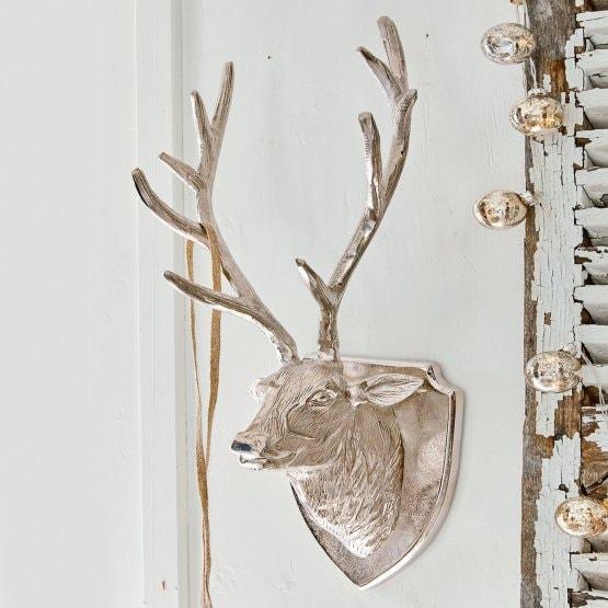 LOBERON Hirschkopf Azé, silber (22 x 31 x 60cm)