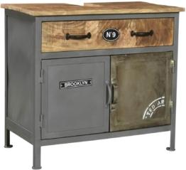 Bad Waschbeckenunterschrank Pinetown Metall recyceltes Massivholz antik, Unterschrank Vintage, Design, Badmöbel, Industrial Stil Metall
