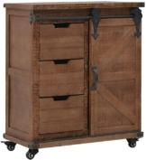Vintage Sideboard   Industrial Kommode   Beistellschrank mit Rollen   Holz Schubkastenkommode   Braun Massives Tannenholz und Stahl 64x33,5x75 cm