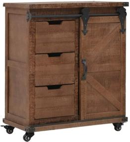 Vintage Sideboard | Industrial Kommode | Beistellschrank mit Rollen | Holz Schubkastenkommode | Braun Massives Tannenholz und Stahl 64x33,5x75 cm