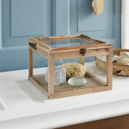 Box Viane, Tannenholz, Glas, Stuhlflechtrohr, Eisen, H/B/T ca. 21/30/30