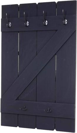 Garderobe Garderobenpaneel, 6 Haken 91x60cm ~ dunkelgrau Shabby