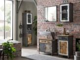 Bad Set Pinetown Metall recyceltes Massivholz antik, 5-teiliges Badezimmerset Badschrank Set Vintage