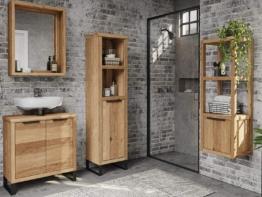 Woodkings® Bad Spiegel Sydney Holz Rahmen Badspiegel mit Ablage Wandspiegel Badmöbel Badezimmermöbel Schminkspiegel (Wildeiche, 56x65)