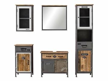Bad Set Pinetown Metall recyceltes Massivholz antik, 5-teiliges Badezimmerset Badschrank Set Vintage -