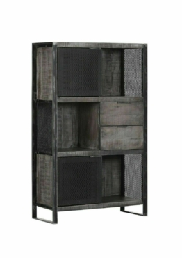 Highboard Costa Industrial Look Metall Schwarz Mangoholz Grau 2 Türen 3 Ablagen