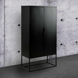 Highboard Newton Metall schwarz Spind-Look Schrank 2-türig Industrial Design