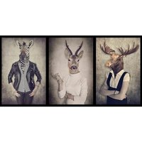 Home affaire Deco-Panel »Hipster - Tiere«, 100/50 cm