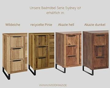 Woodkings® Bad Spiegel Sydney Holz Rahmen Badspiegel mit Ablage Wandspiegel Badmöbel Badezimmermöbel Schminkspiegel (Wildeiche, 56×65) -