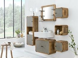 Woodkings® Badregal Dingle 30×30 Holz Pinie Natur rustikal und MDF in Betonoptik grau Badregal Regal Würfel Badmöbel Badezimmermöbel -