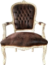 Stuhl Braun Lederoptik/Antik Stil Creme 60 x 50 x H. 93 cm - Handgefertigter Antik Stil Stuhl