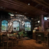 3D Großes Wandbild Vlies Wanddekoration Retro Industriefenster Fenster Fototapete-400cm * 280cm