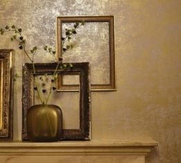 Tapete Gold - Uni - Vliestapete Modern, Klassisch, Opulent - für Schlafzimmer, Wohnzimmer oder Küche