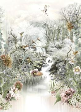 Pastelltöne, blühende Blumen und zwitschernde Vögel –  3D Fototapete