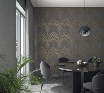 Tapete Anthrazit, Kupfer Grafisch - Für Schlafzimmer oder Wohnzimmer - Made in Germany - 10,05m x 0,53m