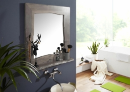 Badspiegel Akazie 70x12x78 grau lackiert LIVE EDGE #603