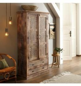 Home affaire Kleiderschrank »Maneesh« aus schönem massivem Mangoholz und vielen Stauraummöglichkeiten, Höhe 190 cm