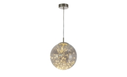 LED-Glaspendelleuchte mit Lichterkette ¦ silber ¦ Maße (cm): H: 150 Ø: 30 Lampen & Leuchten > LED-Leuchten > LED-Pendelleuchten - Höffner