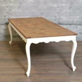 Tisch ELLEB 240x100, massiv edles Mangoholz 240x100cm Landhaus-Stil weiß braun
