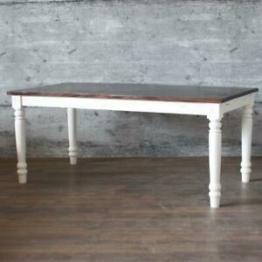 Esstisch PLOCE 180x90 massiv Mangoholz weiß Landhaustisch Shabby Holztisch