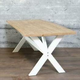 Esstisch COVI, 220 cm Massivholz Landhaus-Stil braun-weiß Holztisch recycelt