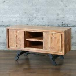 Lowboard LABIN, massiv Mangoholz 110cm TV-Board Sideboard Industrial Design