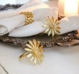 Serviettenringe BRA 4er-Set Ø 5 cm Blüten Design handmade gold Tischdekoration