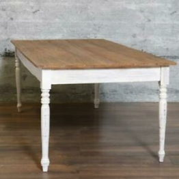 Esstisch LOPUD, massiv Mahagoni recycelt 200x100 white-wash Shabby Landhaus