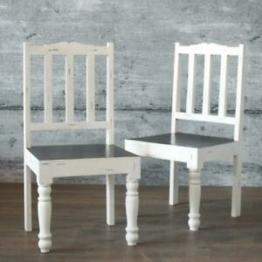Stuhl PLOCE 2er-Set massiv Mangoholz Esszimmerstuhl weiß edles Finish Stühle