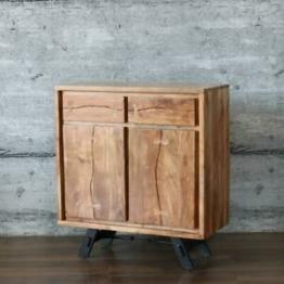Kommode LABIN, massiv Mangoholz 90cm Anrichte Sideboard Industrial-Stil Design
