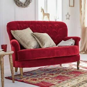 Sofa RAP, rot Chesterfield-Steppung Keder edler Samtbezug Zweisitzer Couch 2er
