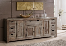 Sideboard Sheesham 210x42x85 grau geölt NATURE GREY #080