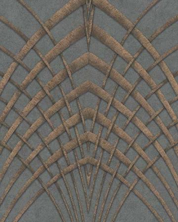 Tapete Anthrazit, Kupfer Grafisch – Für Schlafzimmer oder Wohnzimmer – Made in Germany – 10,05m x 0,53m -