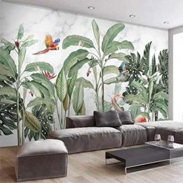 Fototapete Vlies - Regenwaldpflanzen Vögel  350x250cm