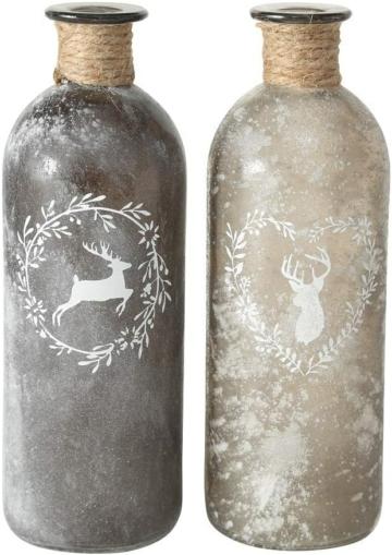 2 x Flaschenvase Hirsch mit Sisalband Glas grau hoch Landhausstil