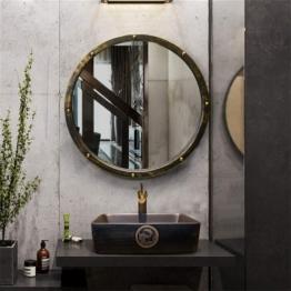 Rasierspiegel, Vintage Industrial Style, Wandspiegel rund