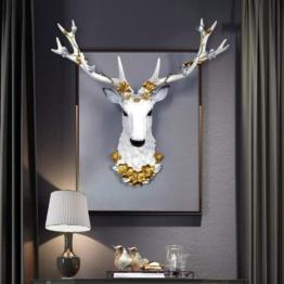 Hirschkopf mit Gold Geweih Wanddekoration