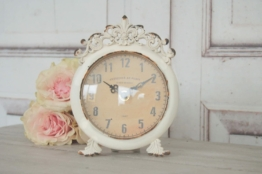 Uhr Svea im Antique Shabby Chic Landhaus, Weiße Tischuhr Wecker